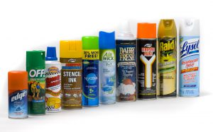 variety of spray cans